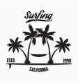 california surfing typography for design clothes vector image
