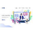 call center website landing page design vector image vector image