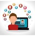 cartoon man laptop page web profiles vector image