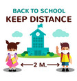 cartoon student girl and boy and back to vector image vector image