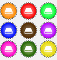 CD-ROM icon sign A set of nine different colored vector image vector image