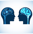 chip and shone brain concept heads of two people vector image