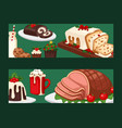 christmas food banner and desserts holiday vector image