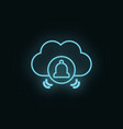 cloud computing bells neon icon web development vector image vector image