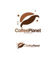 coffee planet logo designs concept coffee place vector image vector image