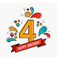 Colorful happy birthday number 4 flat line design vector image
