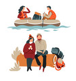 couple hiking hikers in boat and sitting on log vector image vector image