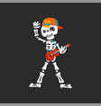 creepy skeleton character in baseball cap playing vector image