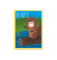 cute beaver with woodland vector image vector image