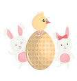 cute rabbits with egg painted vector image vector image