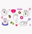 cute sweet set with cartoon cats kawaii vector image vector image