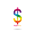 Dollar sign abstract triangle design vector image vector image