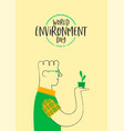environment day card happy man with plant vector image vector image