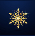 festive golden snowflake isolated on dark vector image vector image