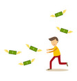 flat man running catching money vector image