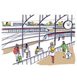 general view of railway platform with trains and vector image