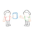 hand-drawn cartoon of man giving book to another vector image vector image