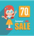 hot summer sale bannerbig summer salediscount 70 vector image vector image