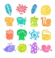 Icons Set of Watercolor Cartoon Objects and vector image vector image