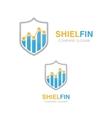 logo combination a graph and shield vector image vector image