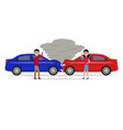 man and woman get angry and swear in car accident vector image vector image