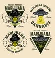 marijuana growing set emblems with alien vector image vector image
