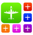 military plane set collection vector image vector image