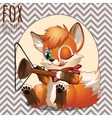 Naughty Fox playing with household items vector image vector image