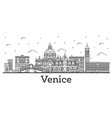 outline venice italy city skyline with historic vector image vector image