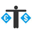 person compare dollar and euro flat icon vector image vector image