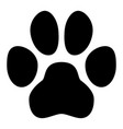 pet paw symbol simple black dog or cat footprint vector image