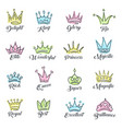 queen crowns sketch vector image vector image