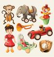 set colorful vintage toys for kids vector image vector image