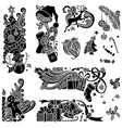set of Christmas object silhouettes vector image