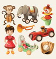 Set of colorful vintage toys for kids vector image vector image