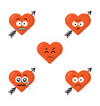 set of flat cute cartoon emoji heart faces with vector image