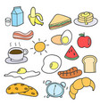 set of hand drawing breakfast doodle vector image vector image