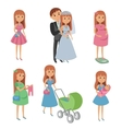 Set of wedding couple pregnant woman mother with vector image vector image