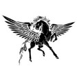 silhouette running horse pegasus black vector image