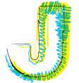 Sketch font Letter J vector image