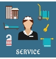 Travel and hotel service flat icons vector image