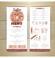 Vintage coffee menu design vector image
