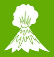 volcano erupting icon green vector image vector image