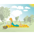 Woman Lying Down In The Park With Book vector image vector image