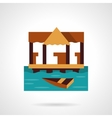 Wooden jetty flat color design icon vector image