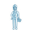 worker woman construction wearing medical mask vector image