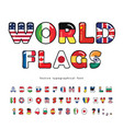world flags cartoon font paper cutout glossy abc vector image vector image