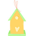 yellow birdhouse spring easter decoration vector image vector image