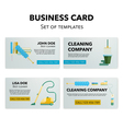 Cleaning company business cards set vector image