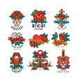 colorfull tattoos in traditional vintage style set vector image